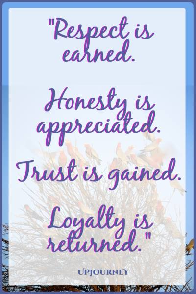 Respect is earned. Honesty is appreciated. Trust is gained. Loyalty is returned. #quotes #respect #selfrespect