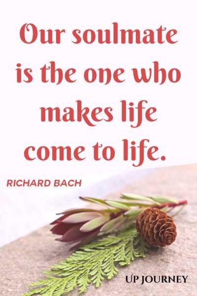 Our soulmate is the one who makes life come to life. – Richard Bach #quotes #soulmate #love #relationships