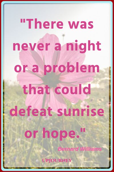 There was never a night or a problem that could defeat sunrise or hope. – Bernard Williams #quotes #morning #inspirational