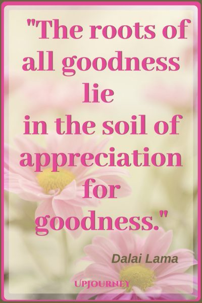 The roots of all goodness lie in the soil of appreciation for goodness. - Dalai Lama #quotes #inspirational #gratitude
