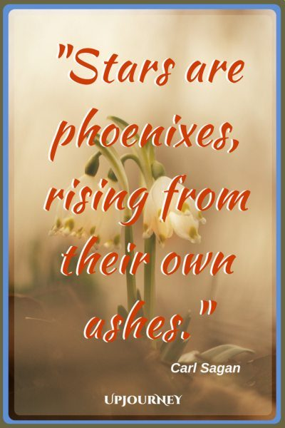 Stars are phoenixes, rising from their own ashes. - Carl Sagan #quotes #phoenix #ashes #inspirational #motivational
