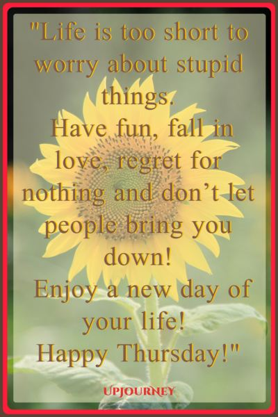 Life is too short to worry about stupid things. Have fun, fall in love, regret for nothing and don't let people bring you down! Enjoy a new day of your life! Happy Thursday! #quotes #happy #today #Thursday #inspirational