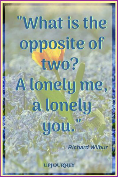 What is the opposite of two? A lonely me, a lonely you. – Richard Wilbur #quotes #relationship #love #missingyou