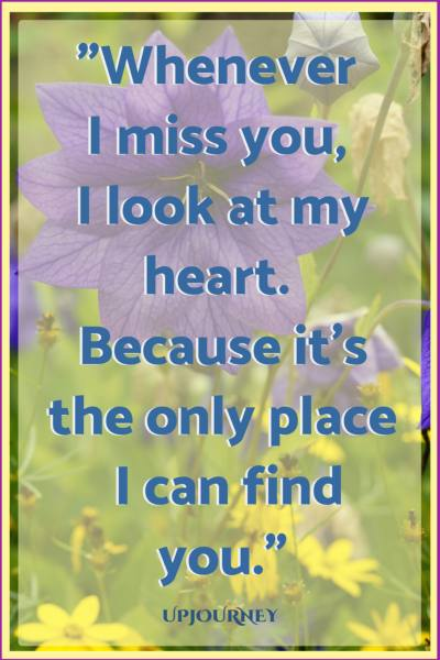 Whenever I miss you, I look at my heart. Because it's the only place I can find you. #quotes #relationship #love #missingyou