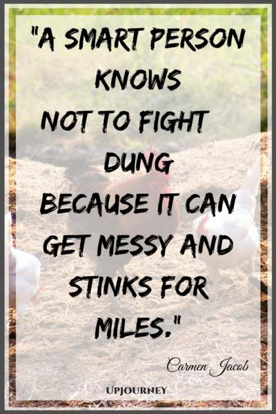 A smart person knows not to fight a dung because it can get messy and stinks for miles. - Carmen Jacob #quotes #brain #mind