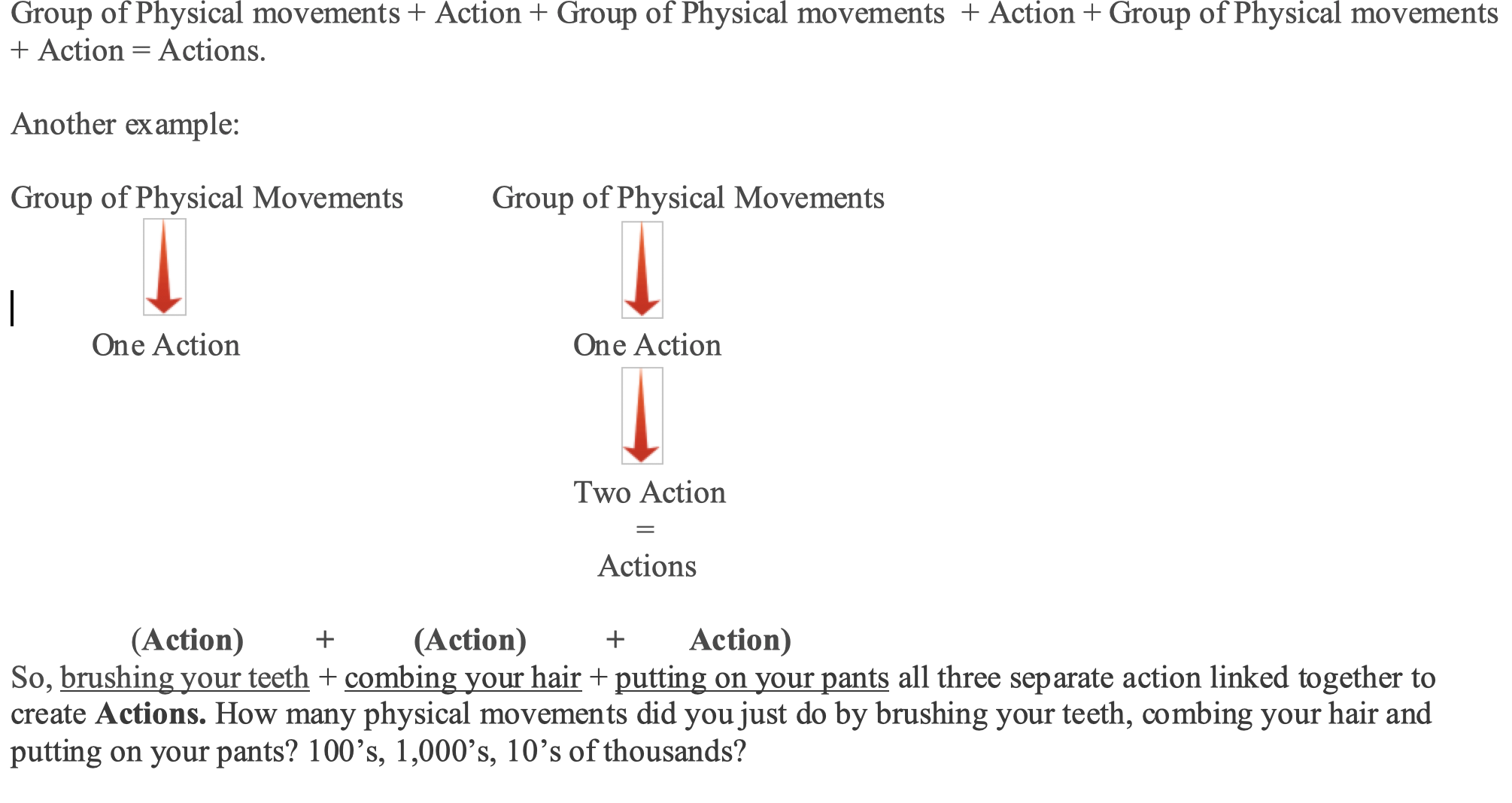 Group of physical movements