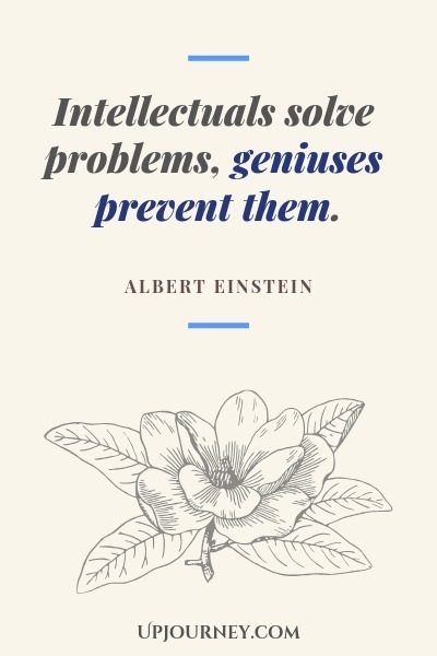 Intellectuals solve problems, geniuses prevent them - Albert Einstein. #quotes #intelligence