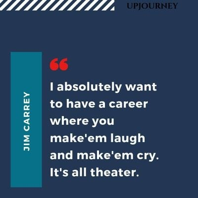 I absolutely want to have a career where you make'em laugh and make'em cry. It's all theater - Jim Carrey. #quotes #fame #fortune #career #laugh #cry