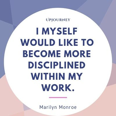 I myself would like to become more disciplined within my work - Marilyn Monroe. #quotes #success #discipline #work