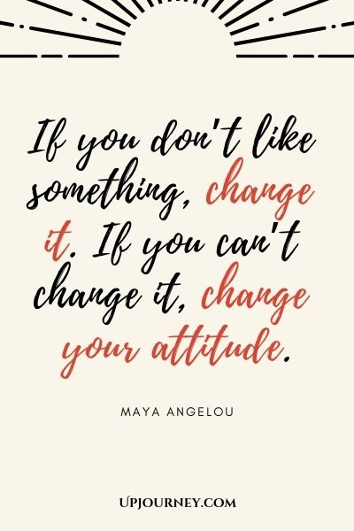 If you don't like something, change it. If you can't change it, change your attitude - Maya Angelou. #quote #success