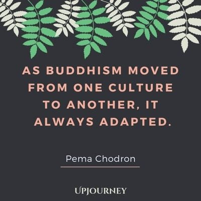 As Buddhism moved from one culture to another, it always adapted - Pema Chodron. #quotes #buddhism #adapted