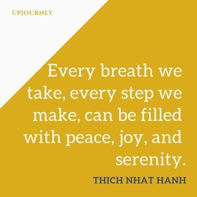Every breath we take, every step we make, can be filled with peace, joy, and serenity - Thich Nhat Hanh. #quotes #peace #breath #joy #serenity
