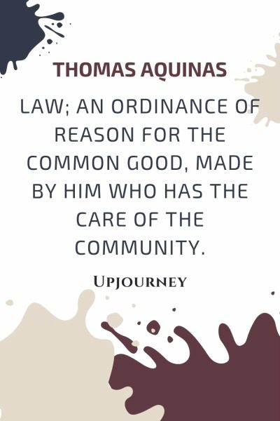 Law; an ordinance of reason for the common good, made by him who has the care of the community - Thomas Aquinas. #quotes #justice #law #reason #common #good #care #community