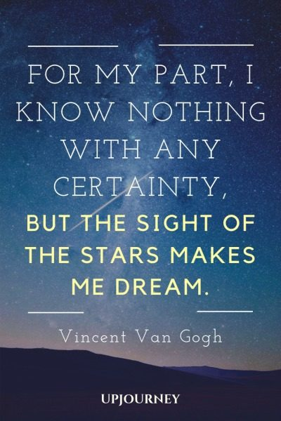 For my part, I know nothing with any certainty, but the sight of the stars makes me dream - Vincent Van Gogh. #quotes #night #sight #stars #dream