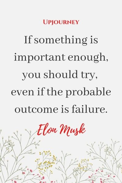 If something is important enough, you should try, even if the probable outcome is failure. - Elon Musk #quotes #inspirational #advice