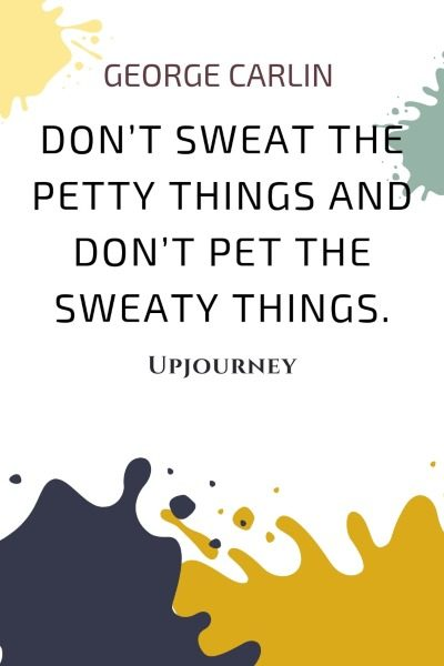 Don't sweat the petty things and don't pet the sweaty things. - George Carlin #quotes #funny