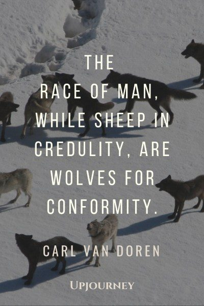 """The race of man, while sheep in credulity, are wolves for conformity."" — Carl Van Doren #wolf #quotes #sheep"