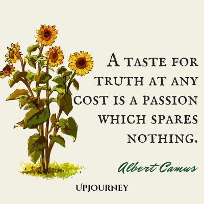 """A taste for truth at any cost is a passion which spares nothing."" #albertcamus #quotes #truth"