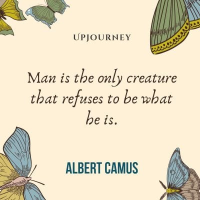 """Man is the only creature that refuses to be what he is."" #albertcamus #quotes #man #creature"