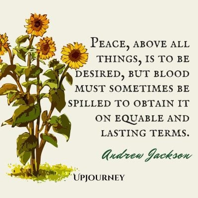 """Peace, above all things, is to be desired, but blood must sometimes be spilled to obtain it on equable and lasting terms."" #andrewjackson #quotes #peace"