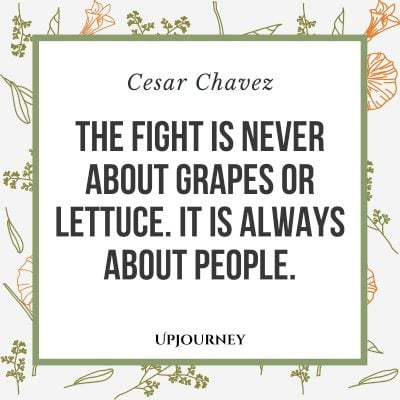 """The fight is never about grapes or lettuce. It is always about people."" #cesarchavez #quotes #fight"