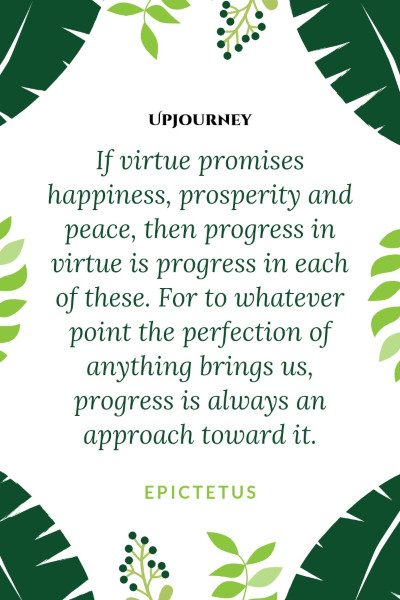 """If virtue promises happiness, prosperity and peace, then progress in virtue is progress in each of these. For to whatever point the perfection of anything brings us, progress is always an approach toward it."" #epictetus #quotes #happiness"