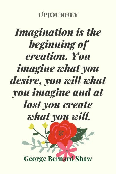 """""""Imagination is the beginning of creation. You imagine what you desire, you will what you imagine and at last you create what you will."""" #georgebernardshaw #quotes #imagination"""