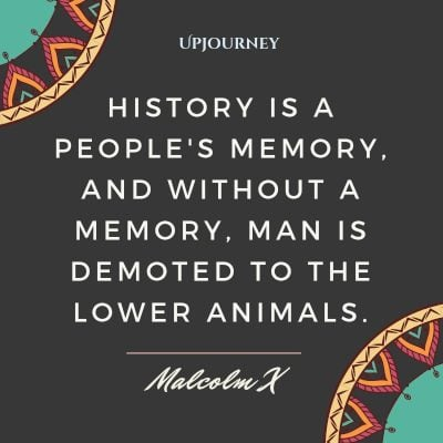 """History is a people's memory, and without a memory, man is demoted to the lower animals."" — Malcom X #memories #quotes #history"