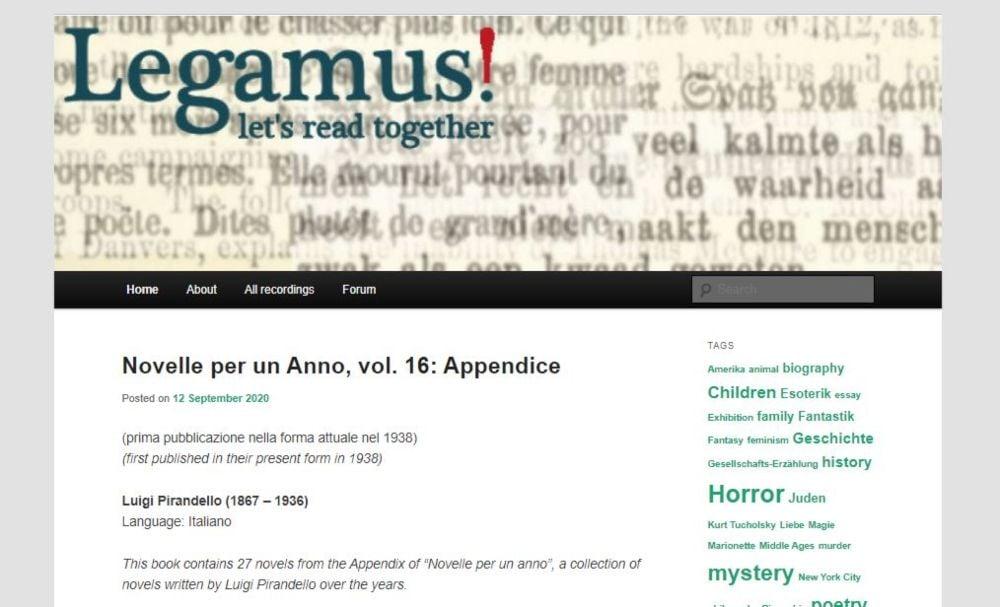 Legamus free audiobooks horror, poetry, short stories