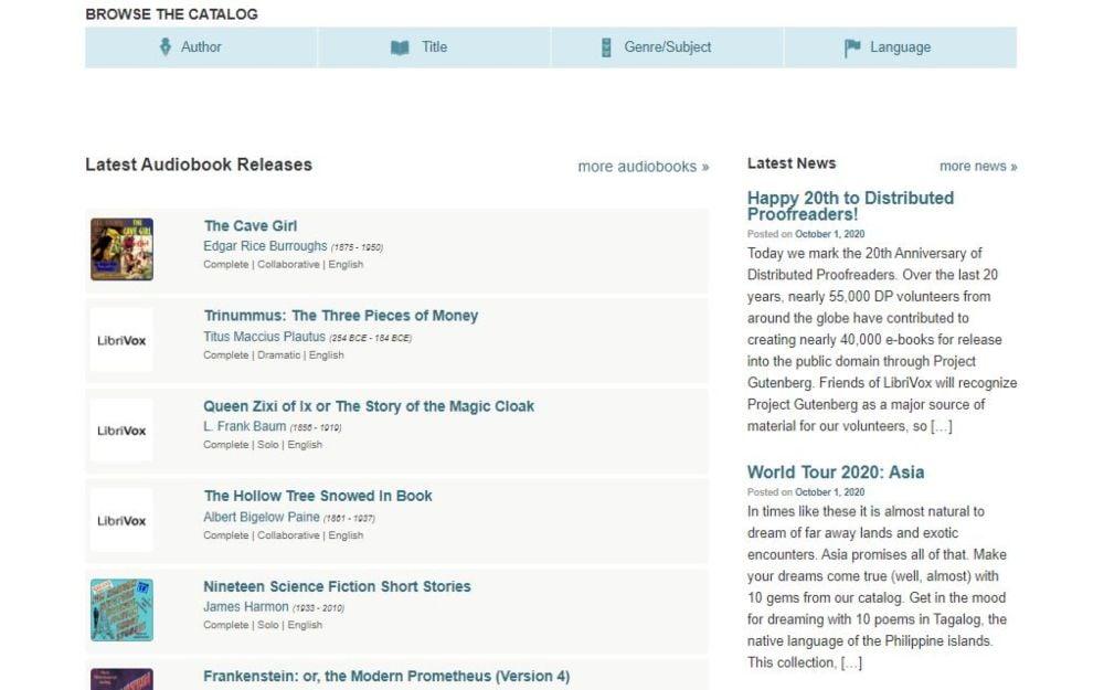 LibriVox listen free audiobooks online