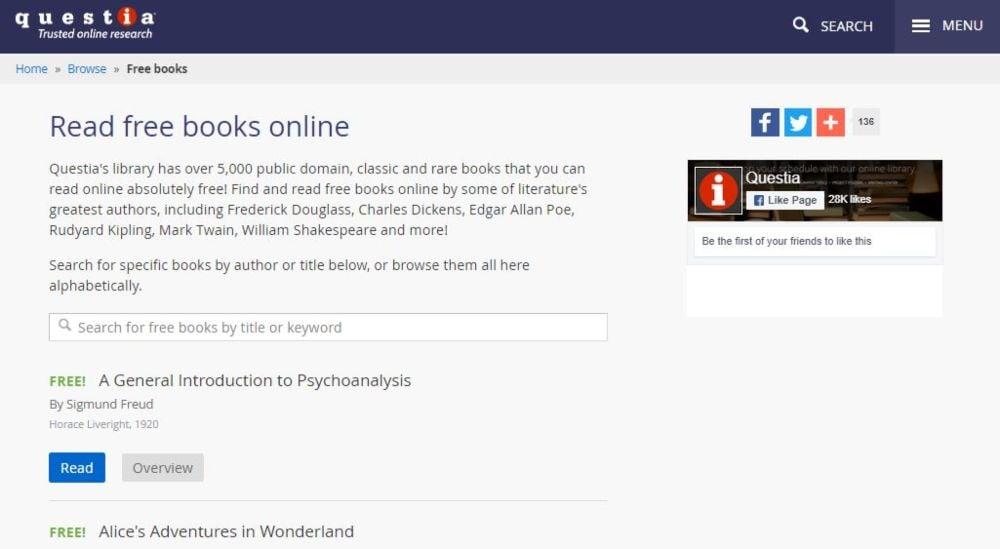 Questia download free classic rare books online