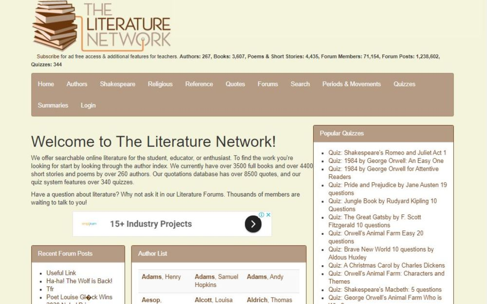 The Literature Network free classic literature, poems, plays, short stories