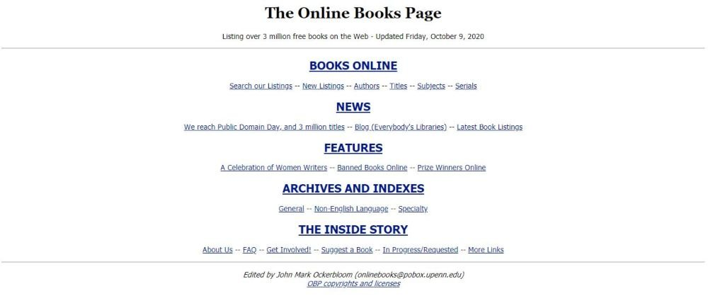 The Online Book Page free online books, online news, archives, stories