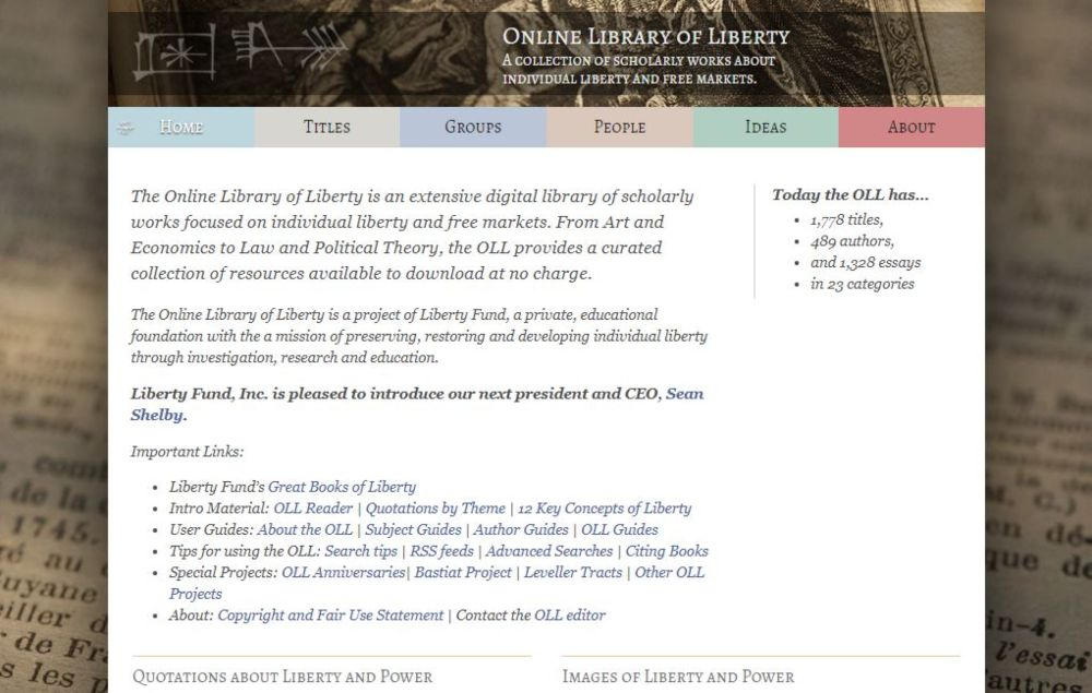 The Online Library of Library of Liberty free political library, scholarly books, research, education