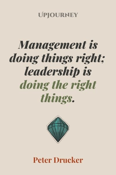 Management is doing things right; leadership is doing the right things. – Peter Drucker #leadership #business